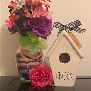 """Rae Dunn Birdhouse """"KNOCK"""" with Nest on Ba…"""